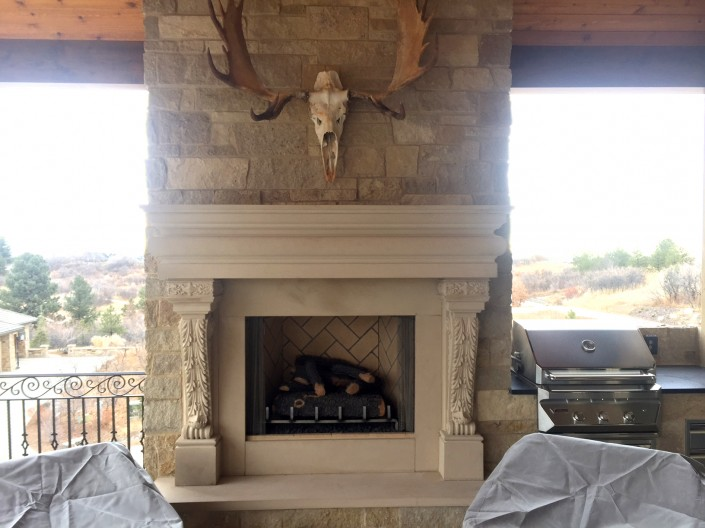 Outdoor Fireplace & Mantel